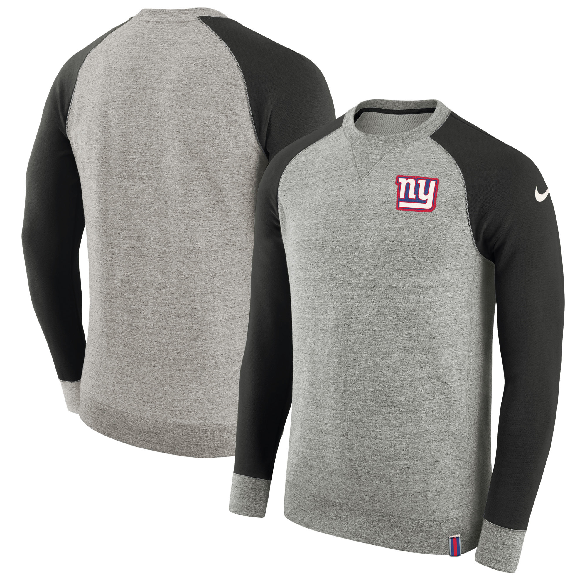 New York Giants Nike AW77 French Terry Pullover Sweatshirt - Heathered Gray/Charcoal