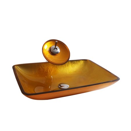 Rectangular Amber Ring - Arsumo Amber Rectangular Glass Vessel Bathroom Sink Set - Faucet, Pop-Up Drain and Mounting Ring