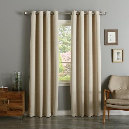 - Quality Home Linen Texture Print Room Darkening Nickel Grommet Curtain - BEIGE - 52