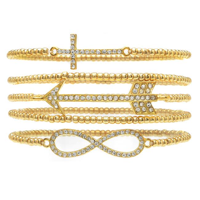 Stacked Infinity, Cross, Arrow Bracelet Set - Exclusive Beadaholique Jewelry Kit