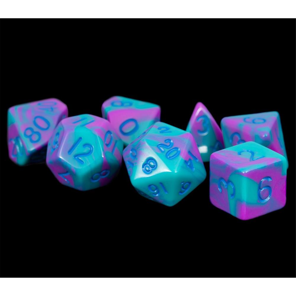 Metallic Dice Games LIC172 16 mm Purple & Teal with Blue Numbers Acrylic Dice Games - Set of 7