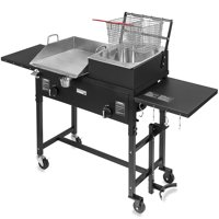 Barton 58,000 BTU Outdoor Gas Propane Double Burner Stove Cook Station Flat Top Griddle & Deep Fryer BBQ Grill Camp Side Table