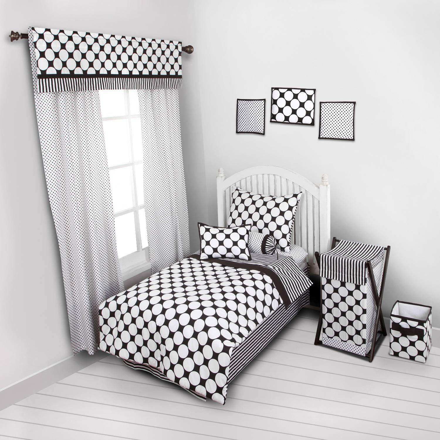 Bacati - Dots/Pin Stripes 4-Piece Toddler Bedding set 100% Cotton percale,  Black/White