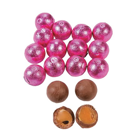 Fun Express - Bright Pink Caramel Choc Balls (1lb) - Edibles - Chocolate - Non Branded Chocolate - 37 Pieces (Fun Halloween Caramel Apples)