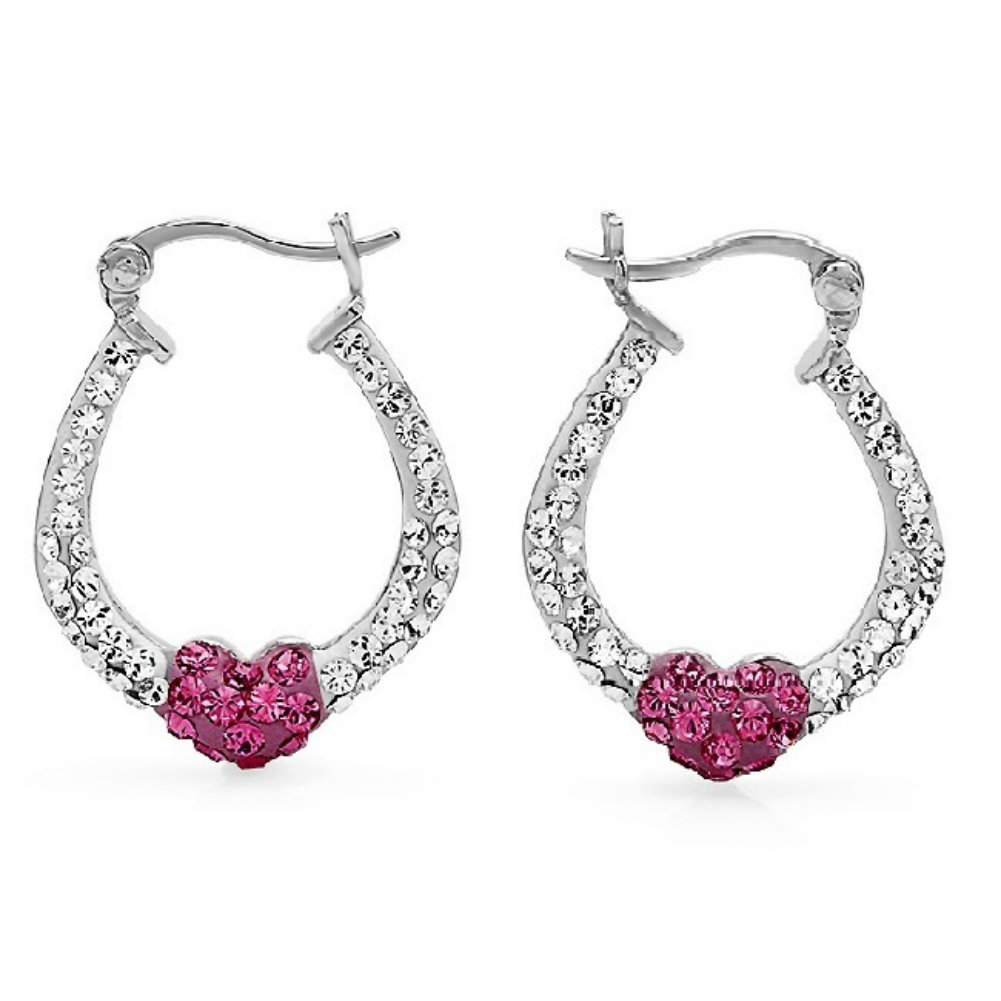 Amanda Rose Sterling Silver Hoop Earrings made with Swarovski Crystals