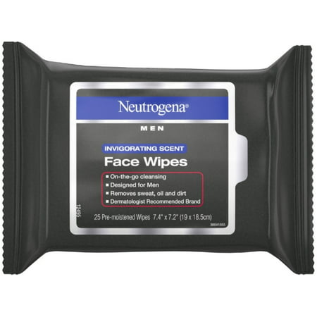 3 Pack - Neutrogena  Men Invigorating Scent Face Cleansing Wipes, Pre-Moistened Travel Facial Wipes for On-the-Go