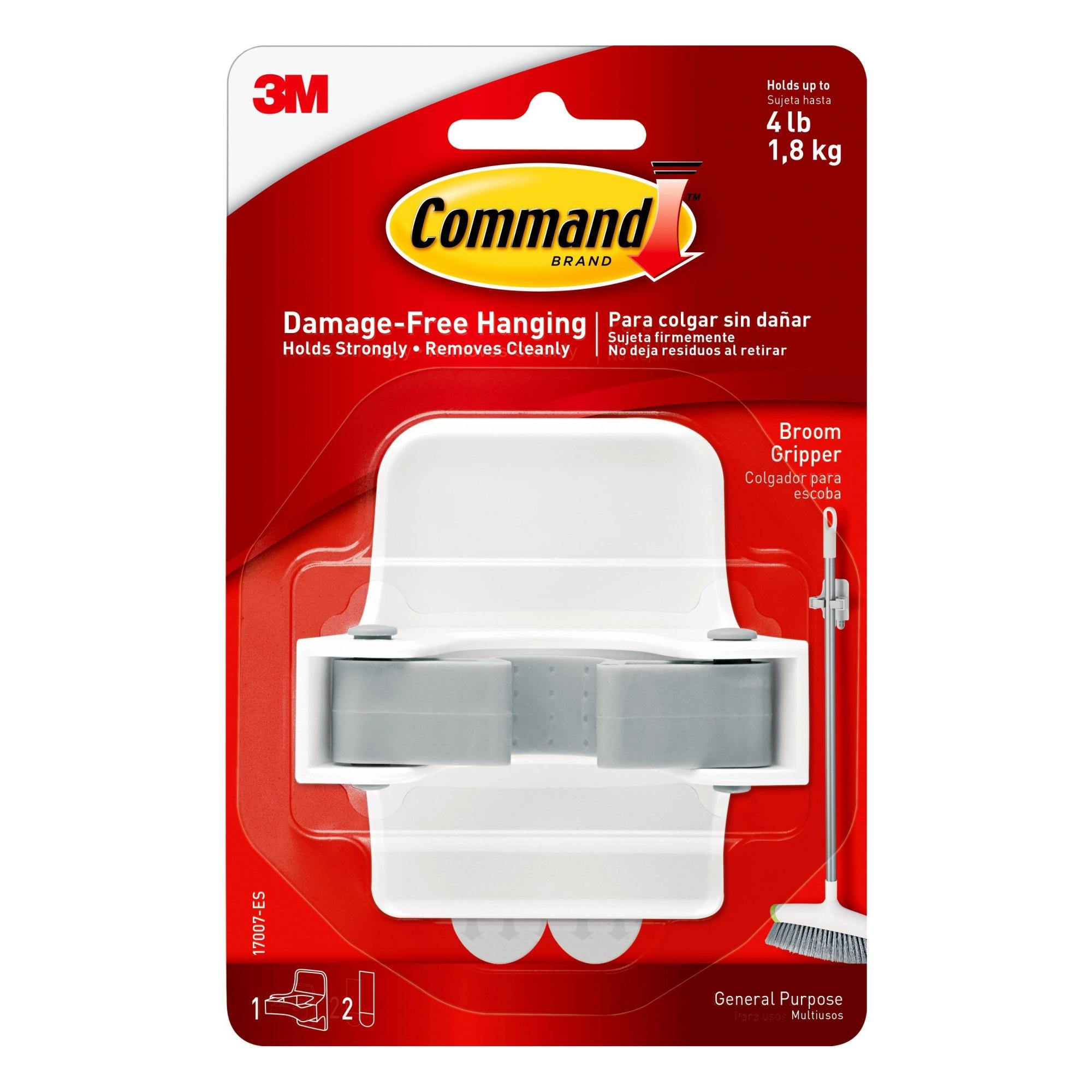 Command Broom Gripper, White and Grey, 1 Gripper, 2 Strips (Holds up to 4 lb)