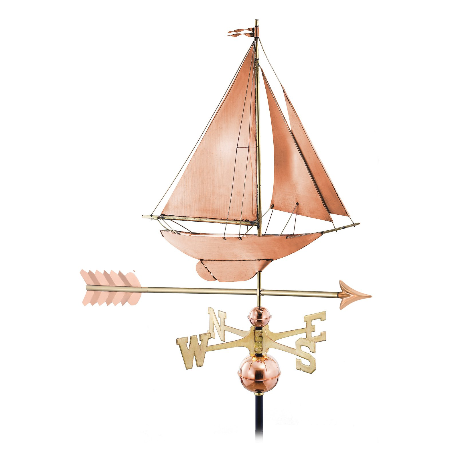 Good Directions Racing Sloop with Arrow Weathervane by Weathervanes