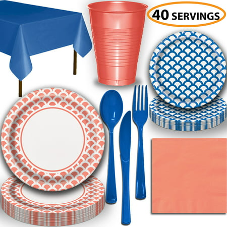 Disposable Tableware, 40 Sets - Coral and Royal Blue Scallop - Dinner Plates, Dessert Plates, Cups, Lunch Napkins, Cutlery, and Tablecloths:  Party Supplies Set