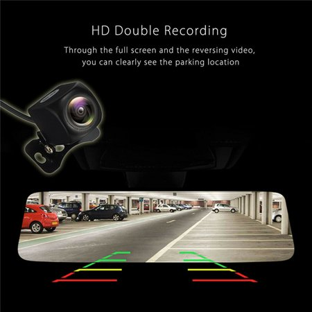 10'' Touch Screen 1080P Dual Camera Rearview Mirror Recorder Car DVR Camcorde - image 1 of 10