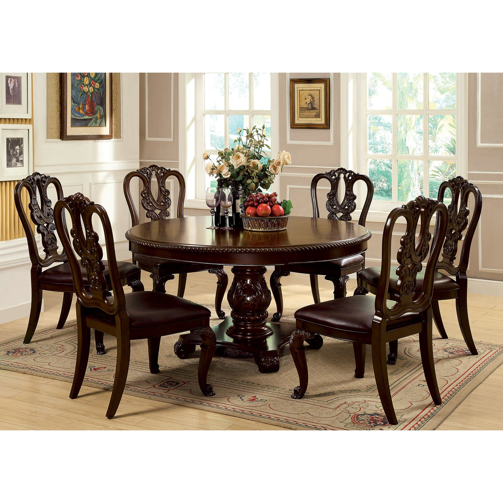 Furniture of America Berkshire Round Dining Table Brown Cherry by Enitial Lab