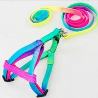 GeweYeeli Adjustable Rainbow Small Rabbit Cat Collar Leash Band Dog Pets Lead Harness Strap Belt