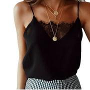 Womens Sleeveless Spaghetti Strap V Neck Lace Trim Cami Tank Top T Shirt Blouse Camis Vest