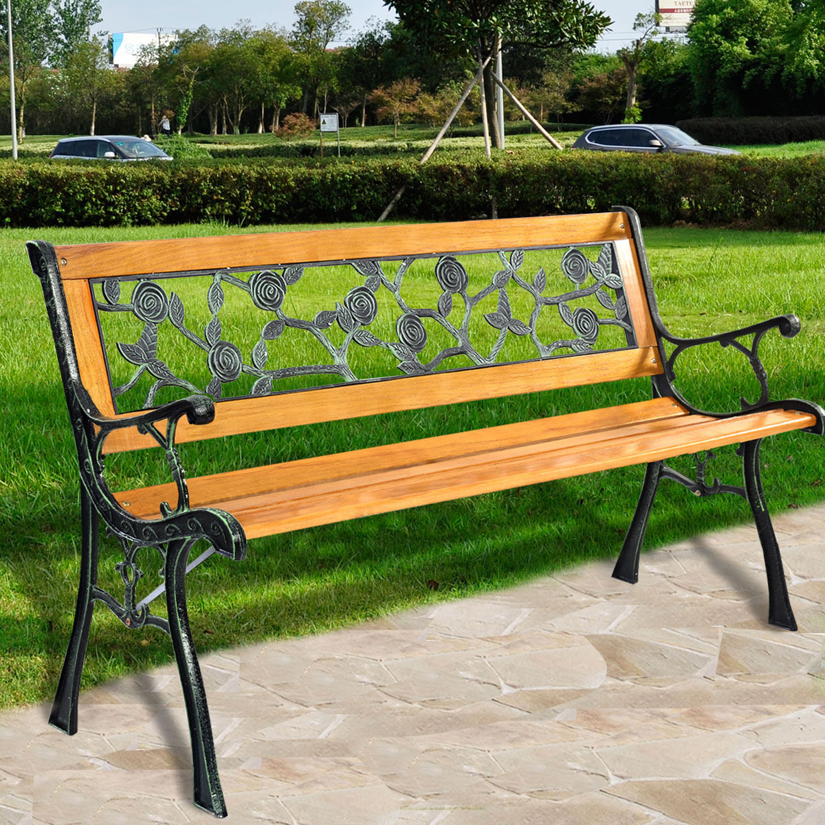 Goplus Patio Park Garden Bench Porch Chair Outdoor Deck Cast Iron Hardwood  Rose