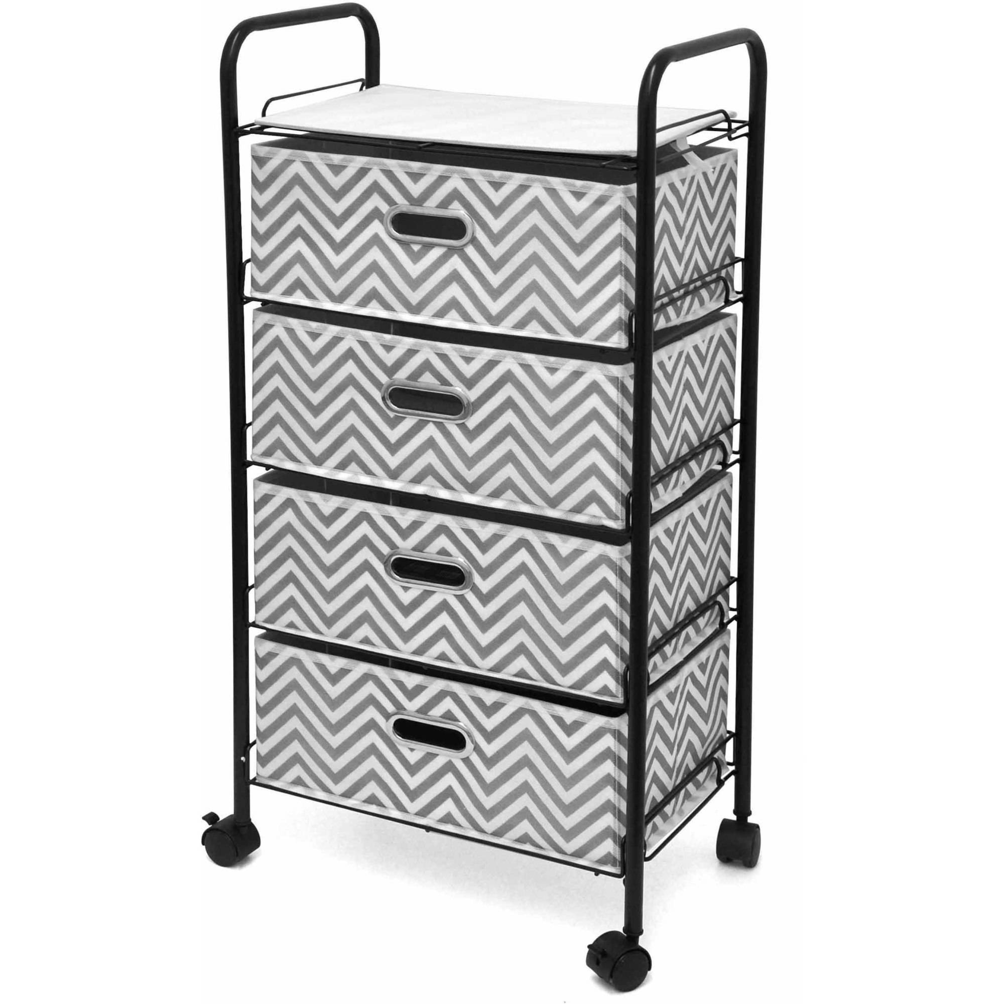 Mainstays 4-Tier Rolling Cart storage, Multiple Colors