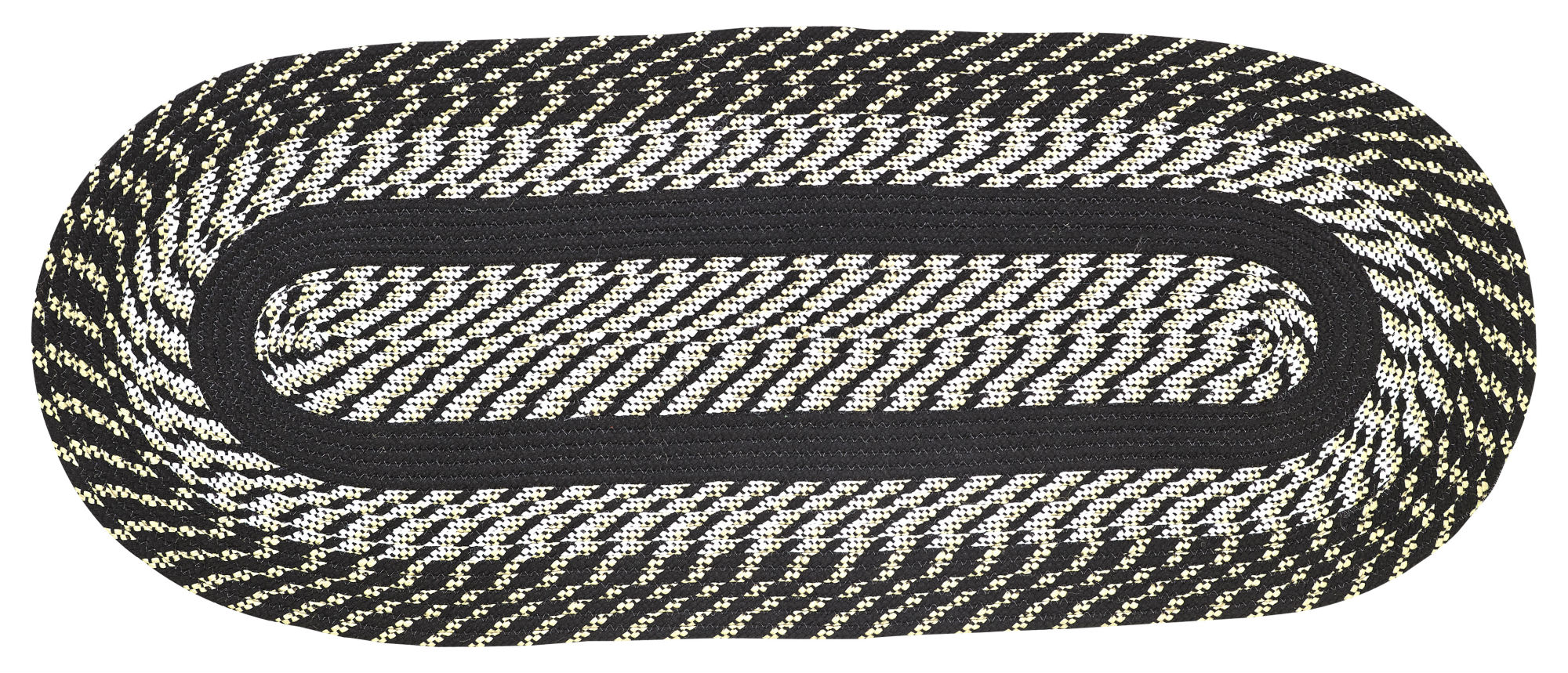 Newport 2'X6' Braided Rug Black by Pan Overseas LLC