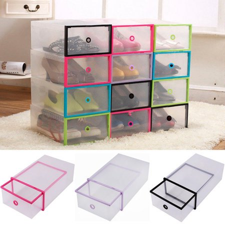 Greensen 5PCS Rectangular Clear Plastic Shoe Box Stackable Transparent Drawer Case Storage Shoe Boxes Protective Storage Organizer