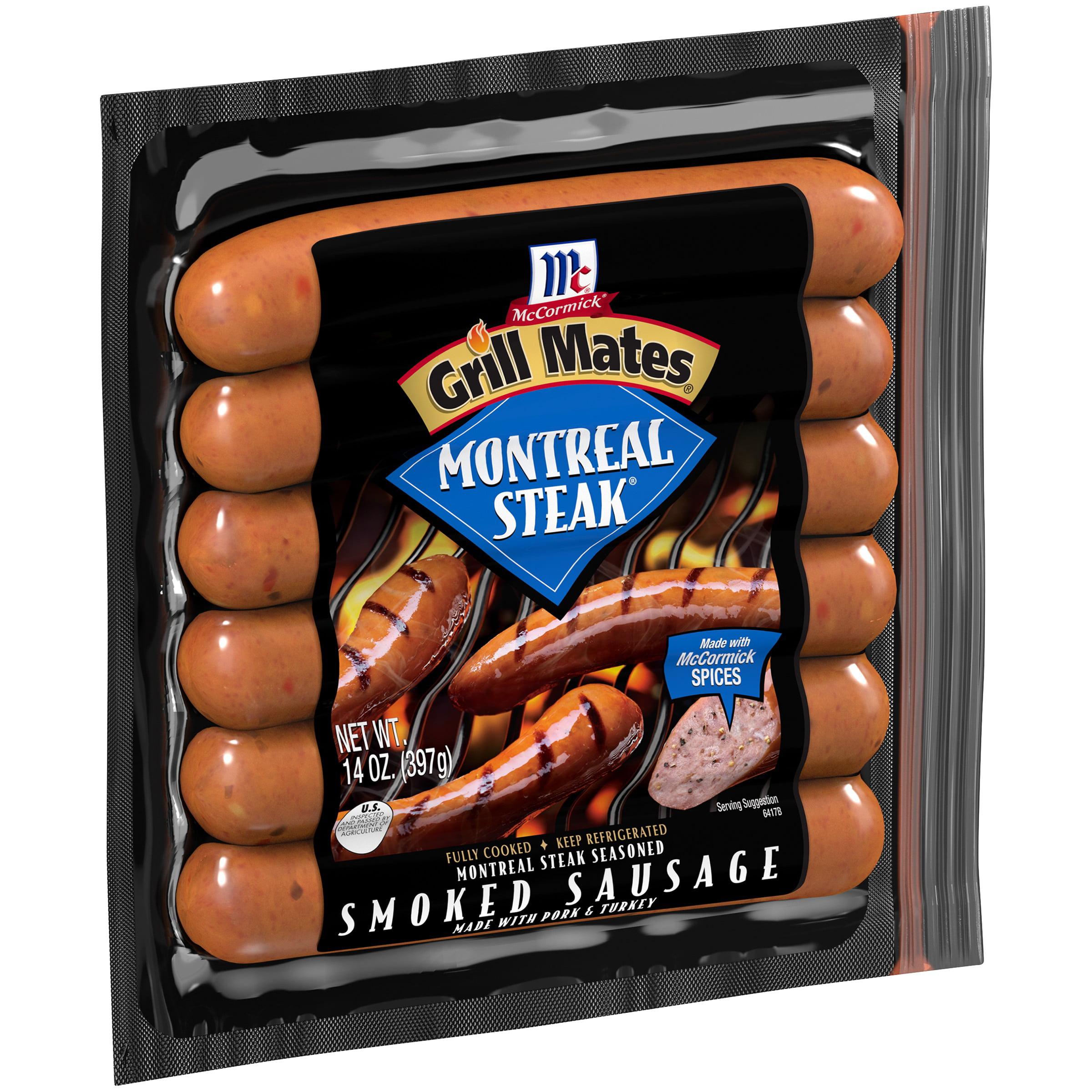 McCormick Grill Mates Montreal Steak Seasoned Smoked Sausage, 14 oz