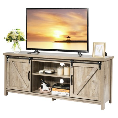 Costway TV Stand Media Center Console Cabinet Sliding Barn Door for TV's 60'' GoldenWhite Oak