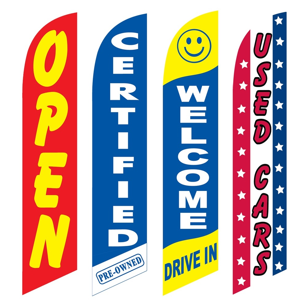 4 Advertising Swooper Flags Open Certified Pre Owned Welcome Drive In Used Cars