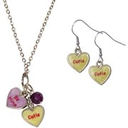 Candy Heart Double Be Mine/Cutie Necklace and Earrings Set