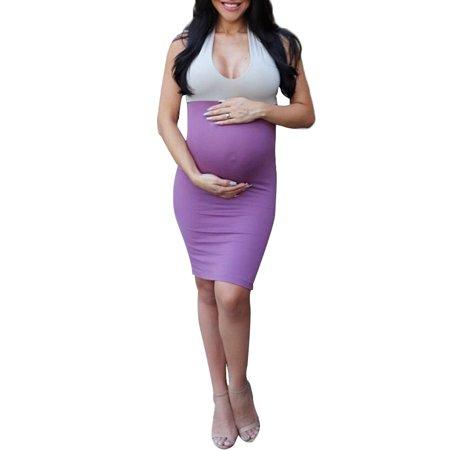Jchiup Maternity Halter Neck Sleeveless Backless Dress