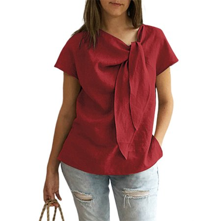 Women's Vintage Bowknot Short Sleeve Belted Blouses Comfy Tops Belted Blouse Top