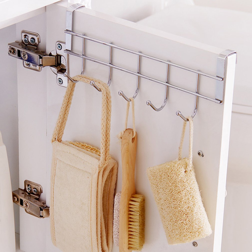 Over Door Home Bathroom Kitchen Coat Towel Hanger Rack Holder Shelf 5 Hooks