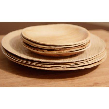Leaf & Fiber Handmade Pack of 100 Compostable Round Palm Leaf Plates (India)](Palm Leaf Plates)