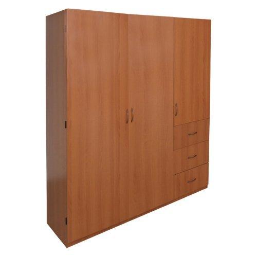 Home Source 3 Door Wardrobe with 2 Shelves