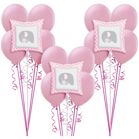 Pink Baby Elephant Balloon Supplies, Include Latex and Foil Balloons and Ribbon
