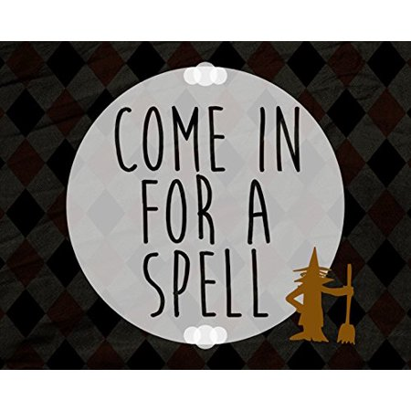 Come In For A Spell Print Moon Witch Broomstick Picture Diamond Background Design Fun Humor Halloween Wall Decoration Seasonal Poster