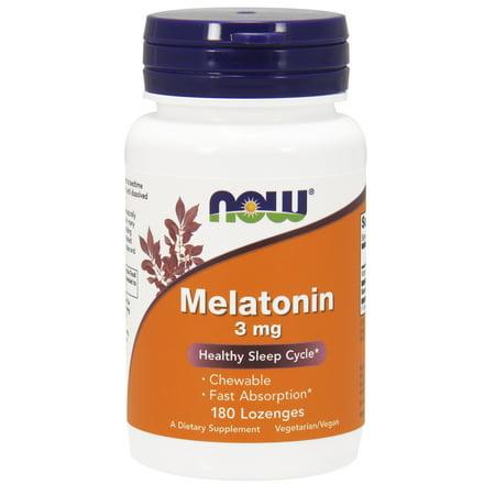 NOW Supplements, Melatonin 3 mg, 180 Chewable Lozenges Complex 250 Mg Chewable