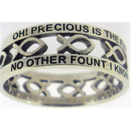 Solid Rock Jewelry 145087 Nothing But The Blood-Cutout Ichthus Style 838 Ring - Sterling Silver, Size 7 ()