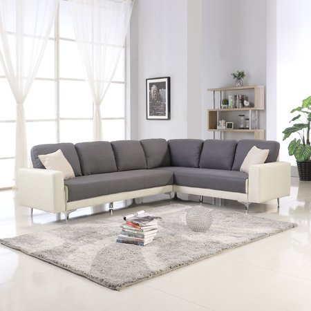 Cool Modern Contemporary 2 Tone Sectional Sofa Dark Gray Beige Creativecarmelina Interior Chair Design Creativecarmelinacom
