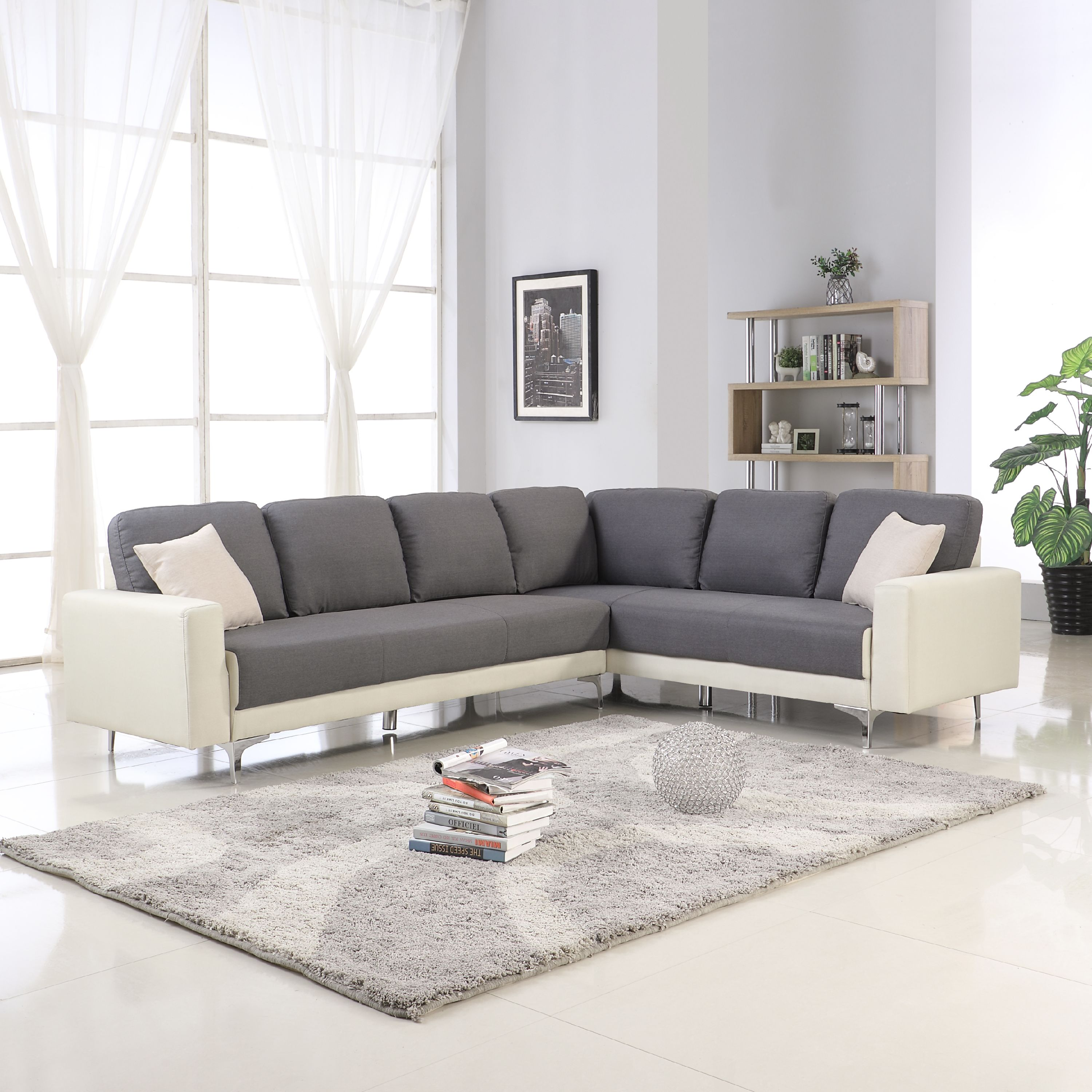 Modern Contemporary 2 Tone Sectional Sofa, Dark Gray/Beige