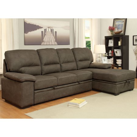 Furniture of America Delton Contemporary Nubuck Leather Sleeper Sectional  by FOA