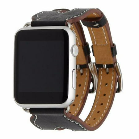 Leather Double Buckle Cuff Replacement Band for Apple Watch - 38mm - Black ()