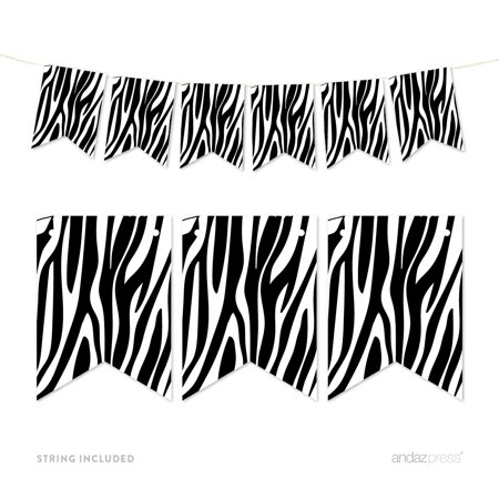 Pennant Party Banner Zebra Stripes Print - Zebra Print Party Ideas