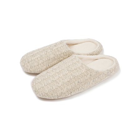 FLORATA Women's Cotton Knit Memory Foam Slippers Terry Cloth Anti Skid Indoor/Outdoor Slip-on House Shoes