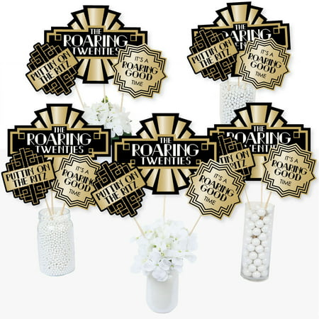 Roaring 20's - 1920s Art Deco Jazz Party Centerpiece Sticks - Table Toppers - Set of 15 - Roaring 20s Centerpieces