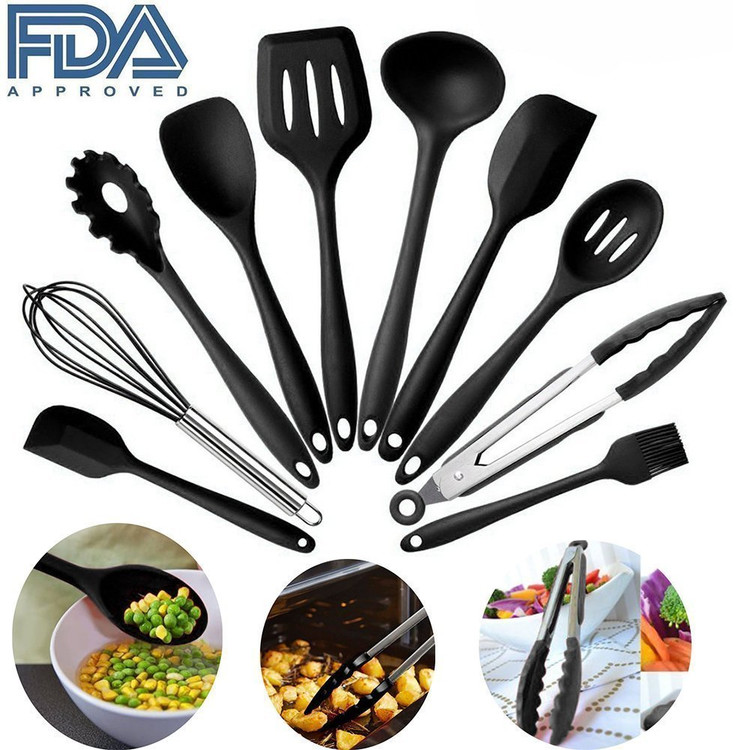 10 Piece Silicone Kitchen Utensil Set , Nonstick & Heavy Duty Silicone Cooking Utensil Set(Black)
