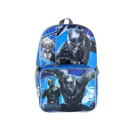 Size one size Kids' 16-inch Black Panther Backpack with Matching Lunch Bag, (Blue Panther)