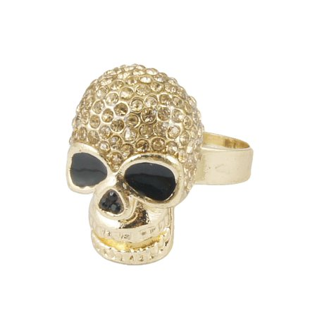 Unique Bargains Rhinestone Decor Skull Design Finger Ring Gift US 6 3/4 for Lady