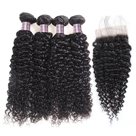 Allove Kinky Curly Weave Human Hair 4 Bundles with Lace Closure 7A Peruvian Hair Weave, 22
