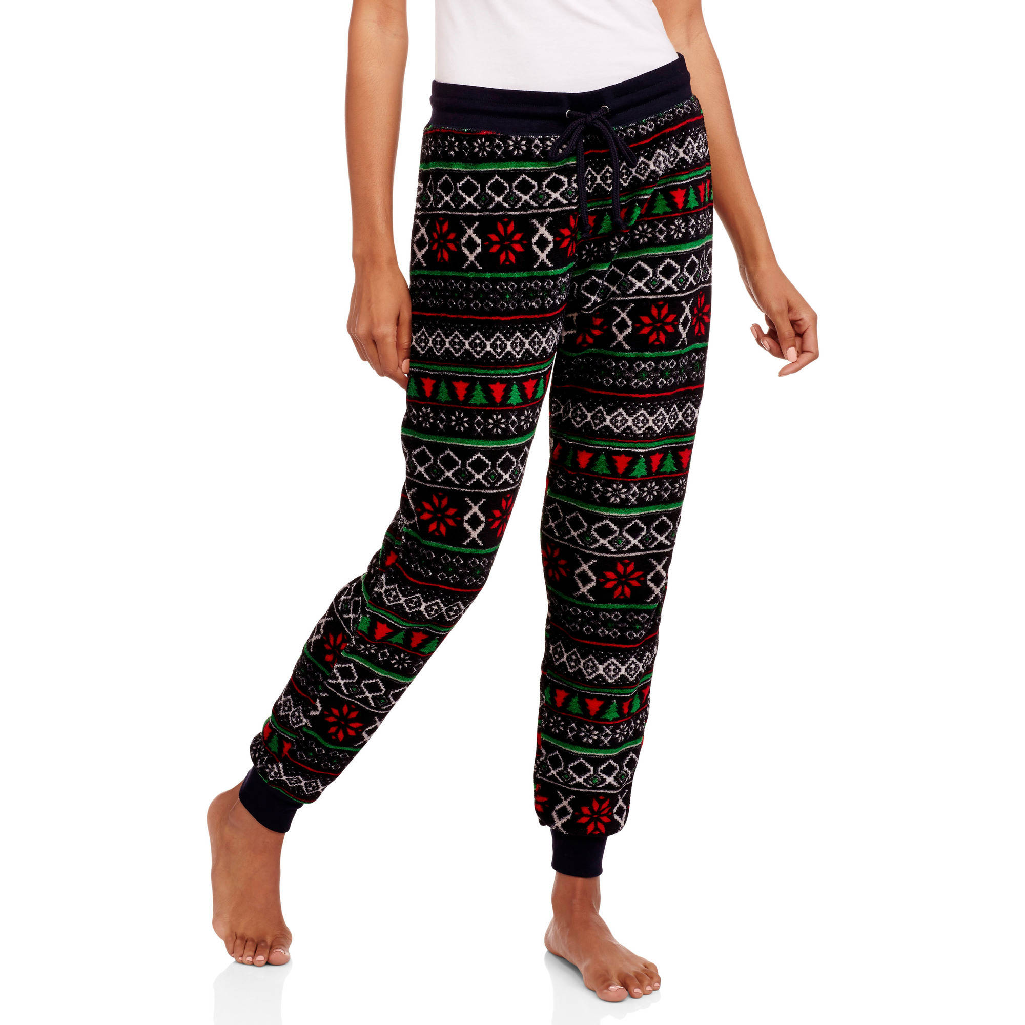 No Boundaries Juniors' Christmas Holiday Print Wooby Jogger Pants