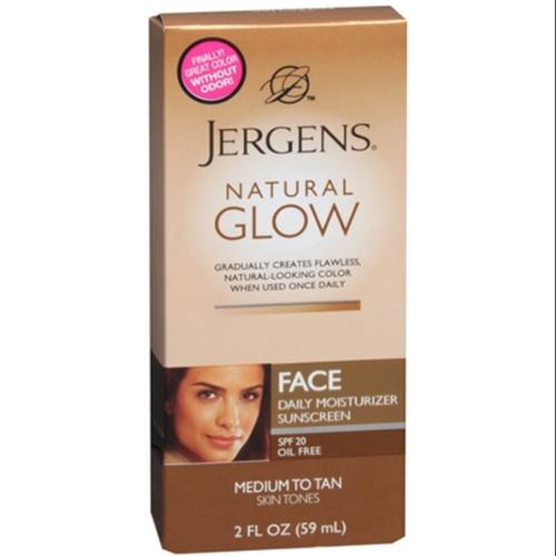 Jergens Natural Glow Daily Facial Moisturizer SPF 20, Medium To Tan Skin Tones 2 oz (Pack of 2)