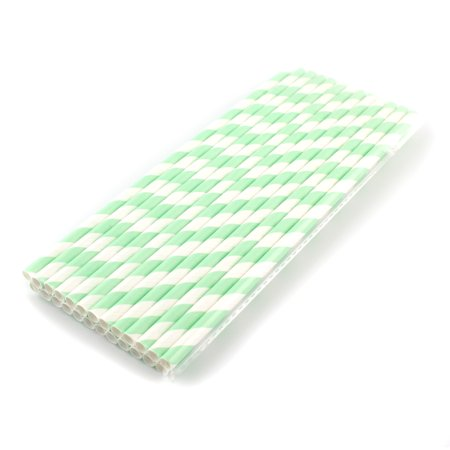 50 pcs Drinking Straws 100% Biodegradable Stripes Paper, Birthday Wedding Party Supplies