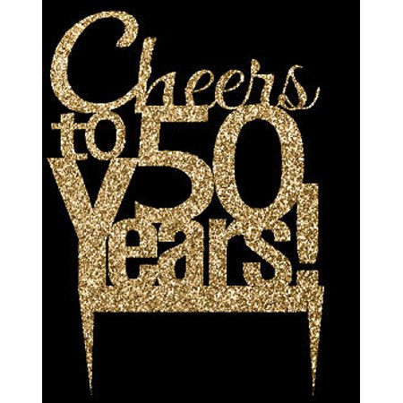 CakeSupplyShop Item#050CTA - 50th Birthday / Anniversary Cheers Soft Gold Glitter Sparkle Elegant Cake Decoration Topper