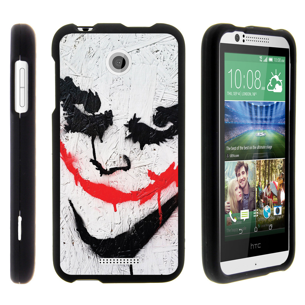HTC Desire 510, [SNAP SHELL][Matte Black] 2 Piece Snap On Rubberized Hard Plastic Cell Phone Cover with Cool Designs - Joker